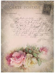 Old world romantic roses and script