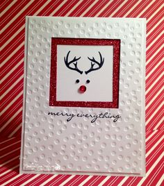 A cutie by Billie! Wonderland, Jingle All the Way, Red Glimmer Paper, Decorative Dots embossing folder, & more - all from Stampin' Up!