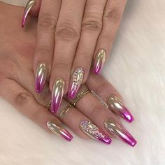 """2,200 Likes, 9 Comments - NAILPRO (@nailpromagazine) on Instagram: """"Gorgeous matte x chrome x crystal combo by @naiilsrociio! #NAILPRO"""""""