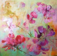 GERANIUM Original Abstract Painting on Stretched by Paulina722, $166.00