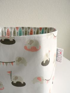 elephants, organ fabric, fabric toys, tini eleph, pretti thing, pink, baskets, fabric basket, leaves