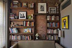 bookshelves and brick
