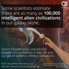 👽Do you think there is other intelligent life in the universe? Cosmic Quotes, Fermi Paradox, Astronomy Facts, Discovery Channel Shows, Universe Today, Space Facts, National Academy, Academy Of Sciences, Astrophysics
