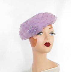 Vintage lavender hat, 1960s tilt, tulle purple by TheVintageHatShop on Etsy