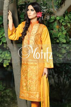 #motifzembroideredlawn #lawn #motifzlawn #motifz #brandedlawn MWU01002-999-MUSTARD Item Type: UN Stitched Three Piece, Shirt Fabric: Lawn, Includes: Front, Back, Sleeves, Crinkle Embroidered Dupatta, Pure Cotton Trouser Retail Price: 5,490