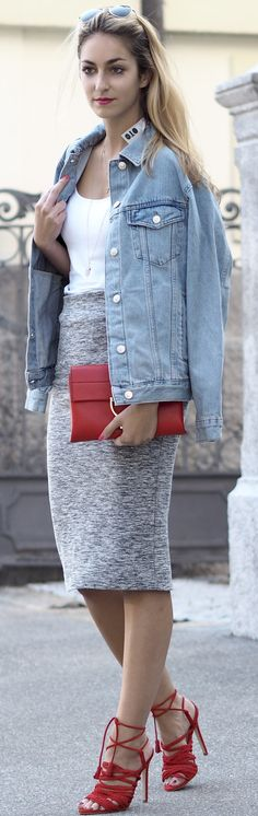 9e10f1398bf66f #fall #musthave #trends | Denim Jacket + Grey Pencil Skirt Grey Pencil Skirt