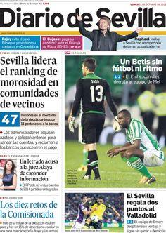 Los Titulares y Portadas de Noticias Destacadas Españolas del 21 de Octubre de 2013 del Diario De Sevilla ¿Que le pareció esta Portada de este Diario Español?
