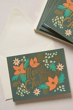 <3 | Shimmering Boughs Boxed Christmas Cards - anthropologie.com