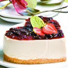 Pie de yogur y cerezas en forma de corazón - Recetas