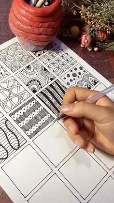Doodle Art Drawing, Zentangle Drawings, Mandala Drawing, Pencil Art Drawings, Cool Art Drawings, Zentangles, Zen Doodle Patterns, Doodle Art Designs, Zentangle Patterns
