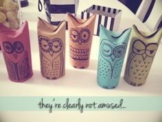 OMG!!! I love this!   Toilet paper roll, dye, owls, we can put these on our Christmas tree!! <3