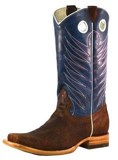 b312fcb3 Broken T Western Boots Mens Zig Zag Rough Out Cowhide Blue BT110 Navy And  Brown,