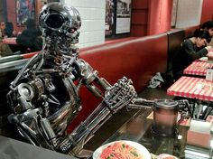 """""""Lunch with me if you want to live!"""" #Terminator #T800 #Endoskeleton #Puppet"""