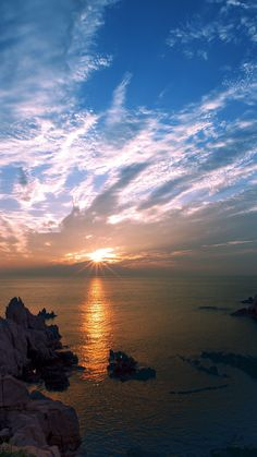 Sunset Sky Cloud Sea Rock Bridge Nature iPhone 6 wallpaper
