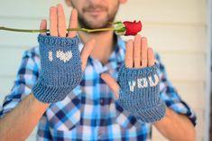Heart Knit Gloves Valentines Day Gift Men by SmilingKnitting