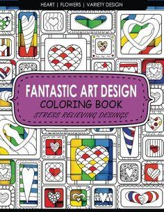 Fantastic Art Design Coloring Books HeartFlowersVariet