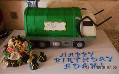 Elevated 3D garbage truck - This is my son's cake for his 4th birthday. He is obsessed with garbage trucks, so it was natural to do this. I want to point out that this truck is elevated, so it appears that it is supported on its tires. It's not my best work, probably because it's my first try at any type of vehicle. I learned so much from making this cake, and the best part was my son and his friends LOVED it. In fact, I had one girl ask me 'where's the cake?' when I brought this out...she…