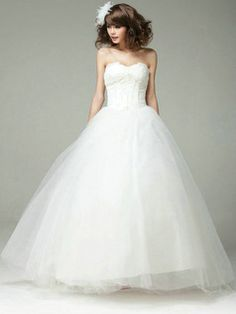USD $259.59 Retro Ball Gown Sweetheart Strapless Lace-up Tulle Wedding Dress #Cheap #wedding #dresses #