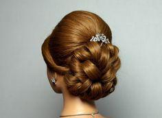Свадебная, вечерняя прическа, прическа на выпускной на длинные волосы. Wedding prom hairstyle
