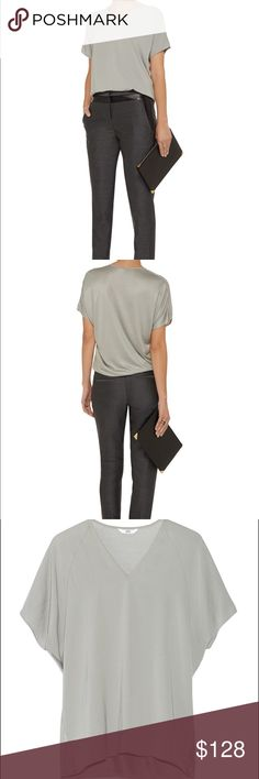 NWT Helmut Lang stone Nexa top Helmut Lang stone Nexa top Made in the USA Crepe de chine Jersey back, dipped back hem Slips on Fabric1: 100% polyester; fabric2: 100% viscose Dry clean Fits true to size, take your normal size Cut for a loose fit Mid-weight, non-stretchy fabric Product code: 507895 Helmut Lang Tops Blouses
