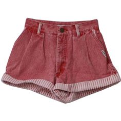 80s Retro Shorts: 80s -Georges Marciano for Guess- Womens faded red,... ($36) ❤ liked on Polyvore featuring shorts, bottoms, pants, short, white shorts, cuff shorts, white cuffed shorts, white short shorts and button shorts