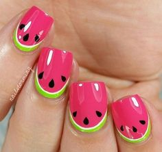 Do you love doing nail art? Are you looking for nail art summer ideas? This post is just what you need! Check out our collection of 'Watermelon Nail Art Designs for Summer below and tell us what you think Cute Summer Nail Designs, Cute Summer Nails, Cool Nail Designs, Nail Designs For Kids, Nail Summer, Cool Nail Ideas, Summer Pedicures, Fruit Nail Designs, Beach Nail Designs