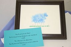 Lamb Guest Fingerprints Keepsake    SUPER CUTE AND DOESN'T LOOK THAT TOUGH...COULD MAKE IT A PINK LAMB AND THE GREEN GRASS WOULD BE SO CUTE...THOUGHTS??
