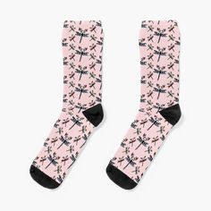 'Dragonflower' by Boar And Gecko . . . #socks #linocut #linocutting  #stamp #rubberstamp #rubberstamps #handcarvedstamp #stampmaking #rubberstamping #vectorart #pattern #insectsillustration #flowerillustration #dragonflyillustration #bugillustration #pastel #pink #boarandgecko #redbubble