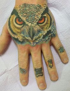 Tattoo<3 owl done by kimi leger and knuckles by jeremy askew at diamond thieves in asheville, nc Tattoo~