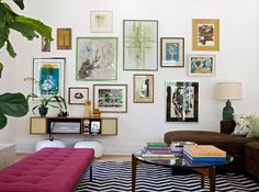 Angie Hranowsky, Royall living room, gallery wall, pouf, zig zag rug, fiddle leaf