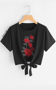 HziriP Casual Women Crop Tops Rose Embroidery Bandage T-shirts 2017 Summer Short Sleeve Black Tees Shirts Harajuku Femme Clothes Cropped Tops, Cute Crop Tops, Women's Summer Fashion, Fashion 2017, Fashion Black, Fast Fashion, Fashion Women, Teen Fashion Outfits, Girl Outfits