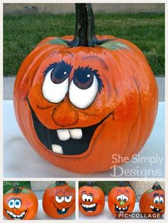 Halloween Pumpkin Decorating Ideas For More Fun ★ Pumpkin Face Paint, Pumpkin Art, Pumpkin Crafts, Pumpkin Carving, Pumpkin Painting, Pumpkin Ideas, Holidays Halloween, Fall Halloween, Halloween Crafts