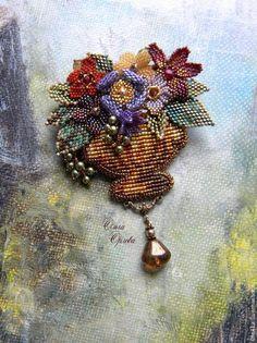 """Брошь-кулон """"Корзиночка"""" - разноцветный,брошь,кулон,брошь с цветами,корзина с цветами"""