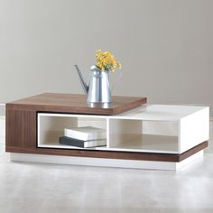Dark oak or walnum w Marble or concrete insert and gold/bronze base (custom build alternative) --La Viola Décor 213 Plus Zoom Coffee Table & Reviews | Wayfair