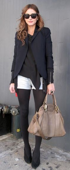 Black tights with light shorts (Olivia Palermo).