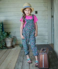 Loving this Black & Red Floral Overalls - Toddler & Girls on #zulily! #zulilyfinds
