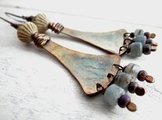 Long Tribal Earrings // hammered copper with by LostSparrowJewelry, $26.00