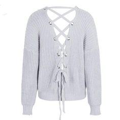 Aurelia Backless Lace Up Sweater