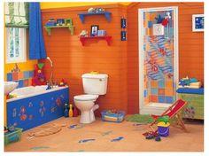 desain kamar mandi anak laki - laki penuh warna