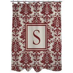 Thumbprintz Damask Monogram Crimson Shower Curtain, Red