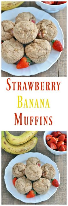 An easy and healthy breakfast muffin recipe. Strawberry Banana Muffins Great for on the go. Vegan and gluten free. Kid friendly too.