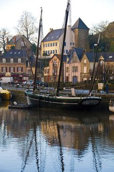 beautiful old yachts moored on the Aven esturary, Pont-Aven, Brittany, France