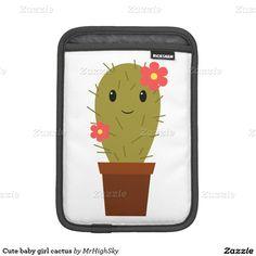 Cute baby girl cactus iPad mini sleeves