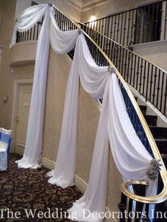Decorate staircase for wedding wedding event decorating wedding decorating venue with a staircase elegant draping of fabric junglespirit Images