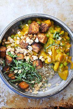 pumpkin curry with peanuts, peas + crispy spice-crusted tofu recipe. vegan.