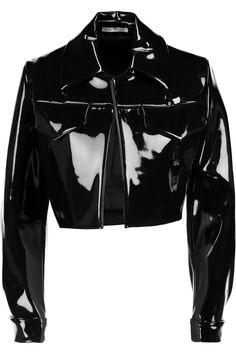 Emilia Wickstead Dorris Cropped Pvc Jacket in Black - Lyst Stage Outfits, Cool Outfits, Fashion Outfits, Fashion Tips, Korean Fashion, High Fashion, Womens Fashion, Petite Fashion, 80s Fashion