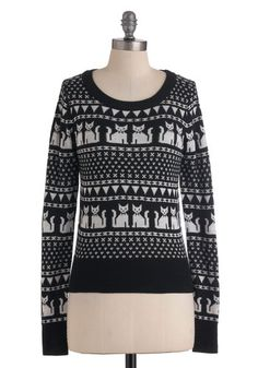 The Cats of Friends Sweater  I love this, like the classic ugly Christmas sweater, only with cats! <3  $49.99  #ModCloth