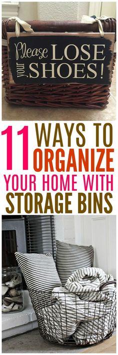 11 Ways to organize your home with storage bins. #organization #organize #StorageIdeas #storagebins
