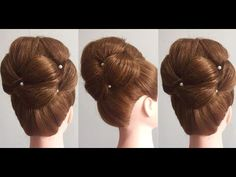 Hairstyle for long medium hair. Updo tutorial - YouTube