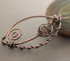 Handmade russet  blush shawl pin or scarf pin in swirly ornate design with lampwork and Czech glass beads